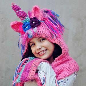 Other - NEW unicorn crochet hat scarf